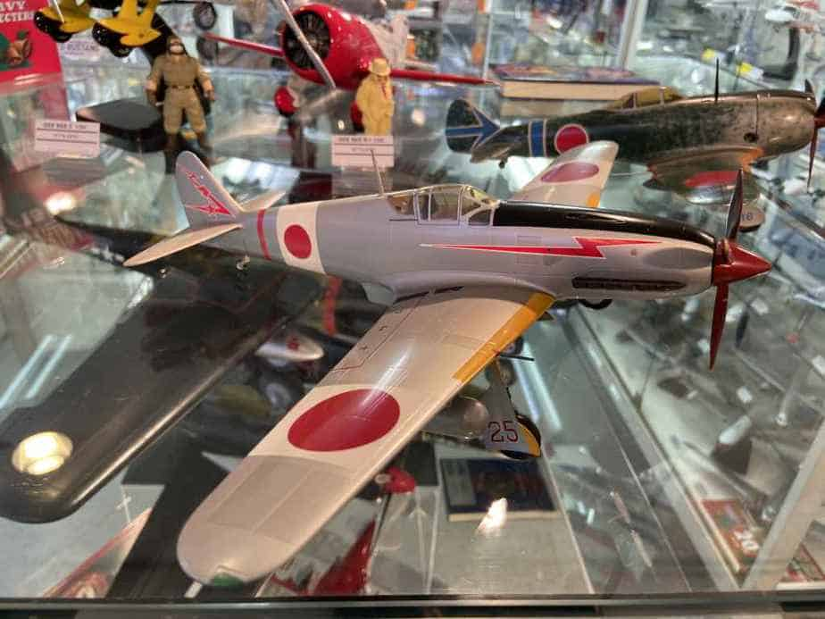Japanese World War II zero type fighter in 1/48 scale made by Nemoto circa 1960s at the Wing Club store in Tokyo
