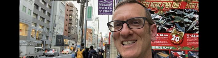 Henry Tenby at the Wing Club Desktop Model shop in Minato-Ku, Tokyo Japan