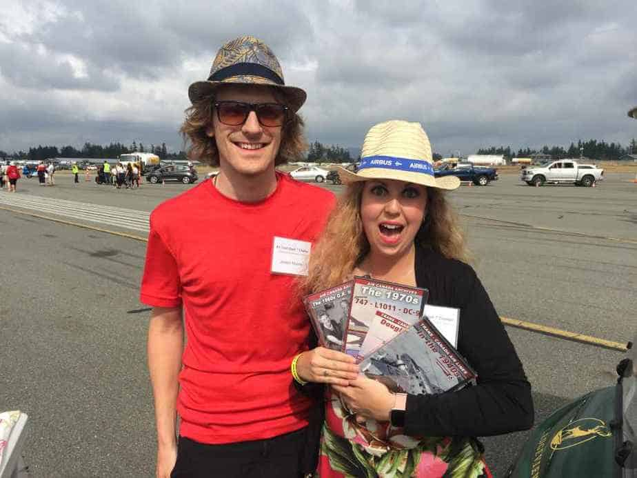 A very lucky Devon Scott won our big raffle of the day which included an Air Canada History DVD set! She was mega stoked!! This photo was taken on the Abbotsford apron after the airshow was over and before we boarded our Dash-7 for the return flight back to YVR.