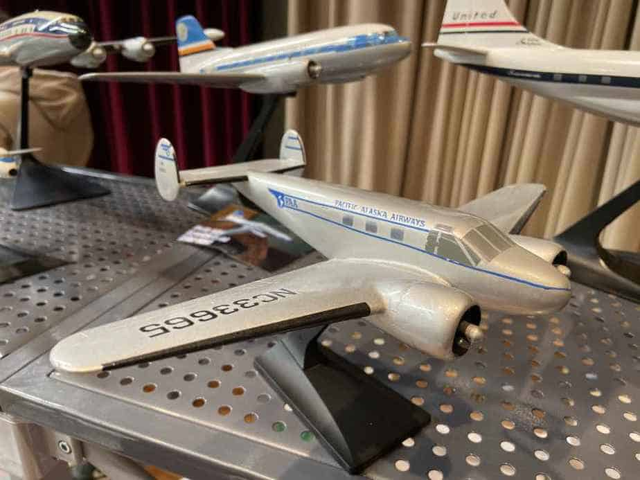 Ed van Rooijen from Amsterdam brought a fabulous selection of models for sale to the Frankfurt Schwanheim airline show in November 2019, including this 1/72 metal Beech 18 in Pacific Alaska livery.