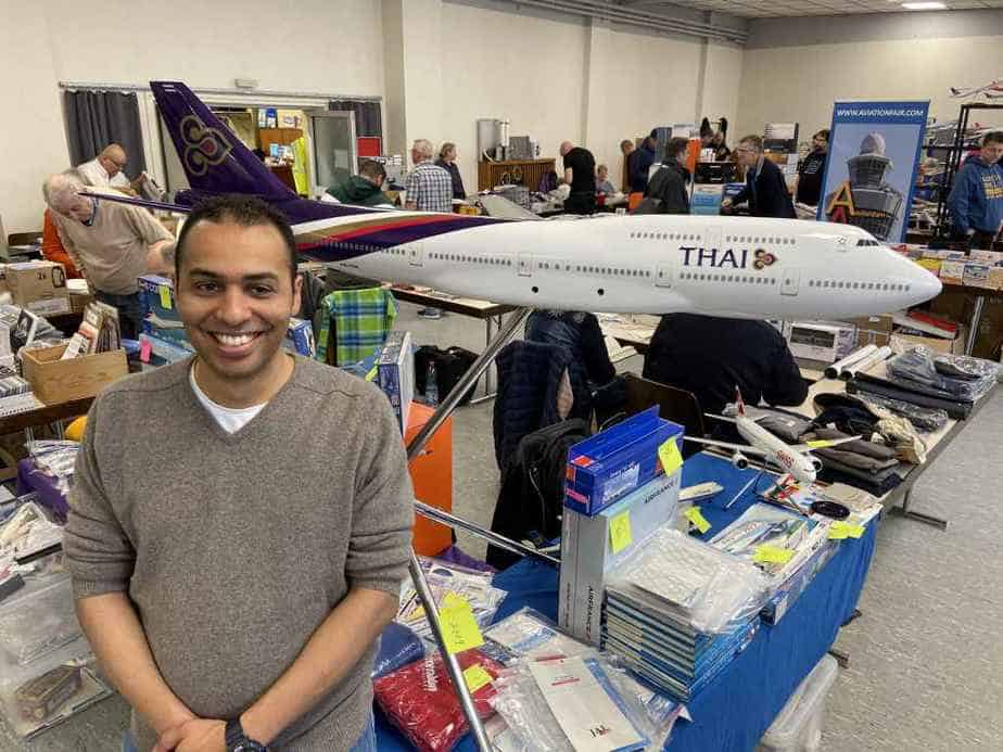 Massive Thai 747 floor model in 1/50 for sale at the Schwanheim Airline show in November 2019.