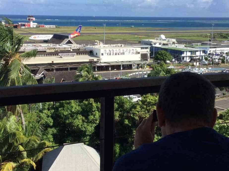 Henry Tenby spotting at Tahiti's Faaa airport from the balcony of the Tahiti Airport Hotel.