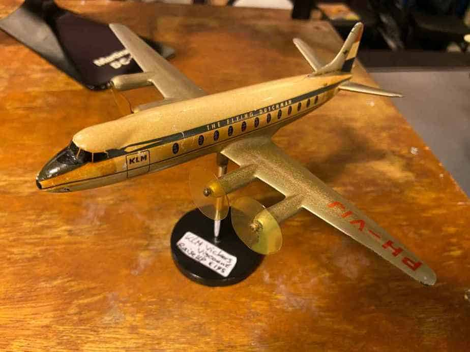 Small KLM Viscount 800 in plastic circa 1950s by Raise Up
