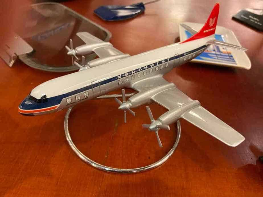 A small scale Northwest Airlines L-199 Electra, possibly a 1/144 Raise Up model, in plastic
