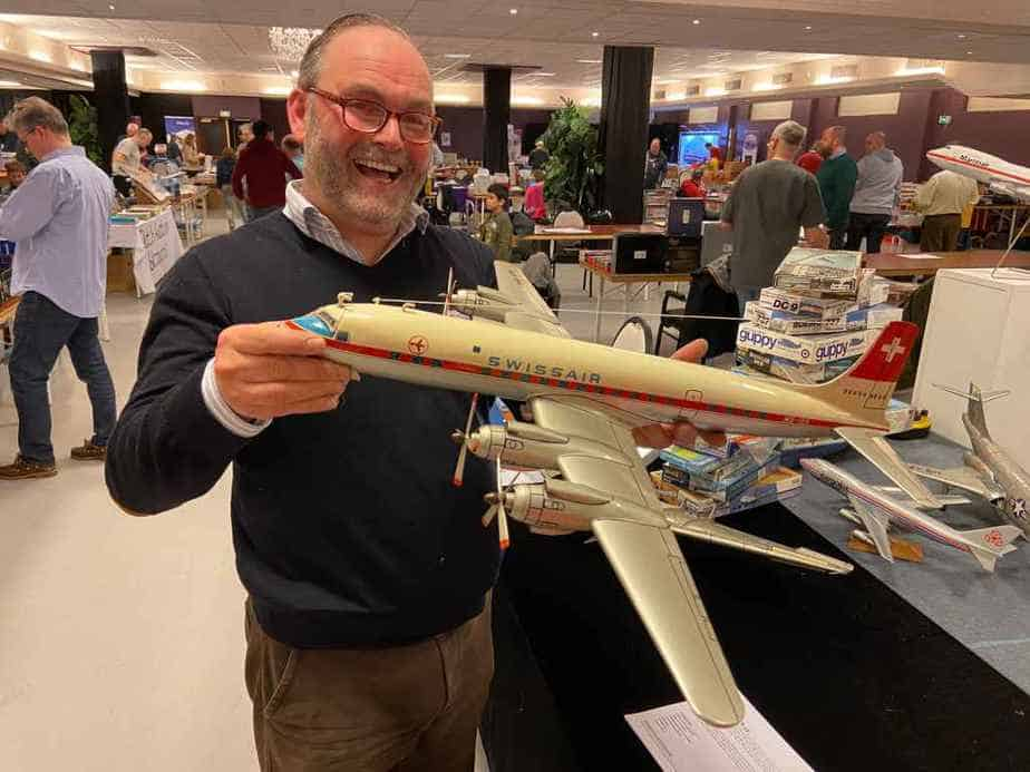 Peter Casell with his hand made large scale Swissair DC-7C, which he sold at the Amsterdam Show 2020.