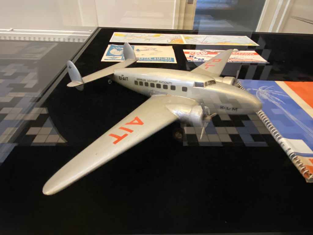 Large scale vintage wooden model of a KLM Lockheed Lodestar PJ-AIT circa 1940s at the Aviodrome Aviation Museum.