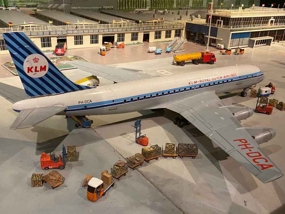 KLM Douglas DC-8 in 1/50 scale as part of the Amsterdam Schiphol airport re creation at the Aviodrome Aviation Museum. This model was likely made by Matthias Verkuyl, circa 1960.