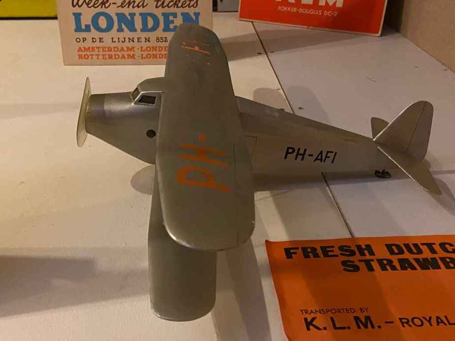 Vintage 1920s ear wooden KLM display model at the Aviodrome Aviation Museum. Type not indicated by the museum.