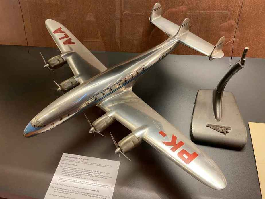 This is a 1/43 Lockheed factory sheet metal model of a KLM Lockheed 749 Constellation, circa late 1940s or early 1950s. This model is part of the Aviodrome Aviation Museum.