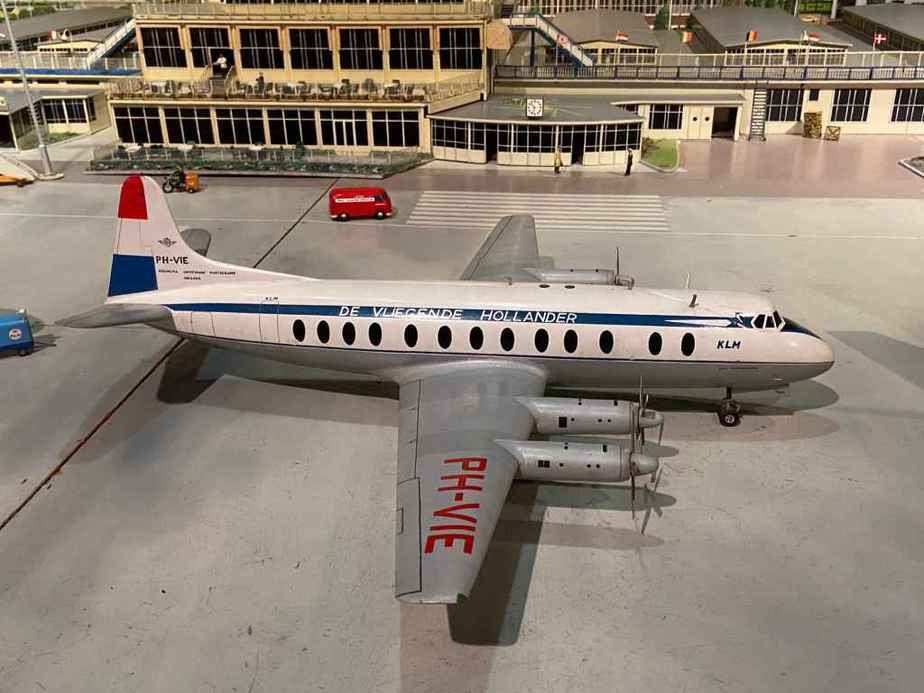 KLM Vickers Viscount 800 in 1/50 scale as part of the Amsterdam Schiphol airport re creation at the Aviodrome Aviation Museum. This model was likely made by Matthias Verkuyl, circa 1960.