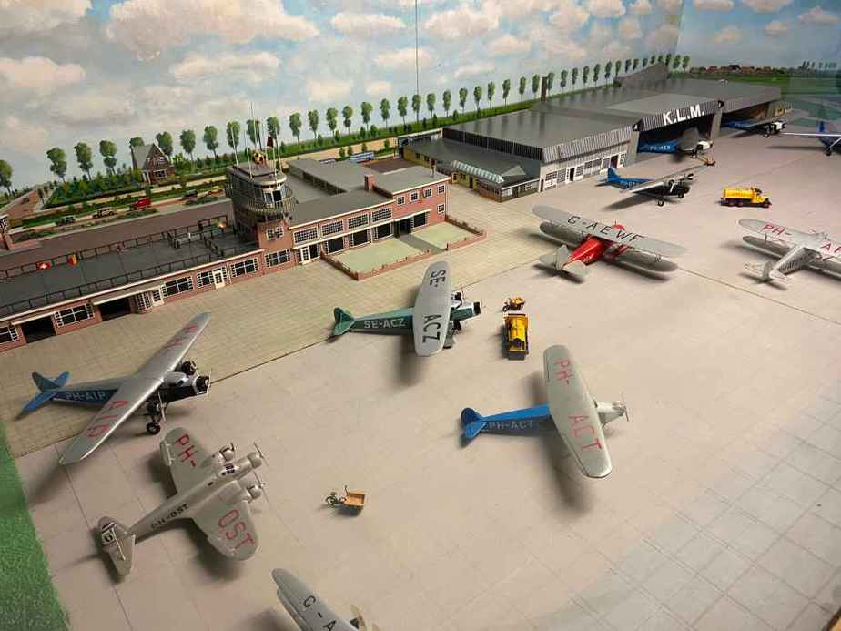 This is a 1930s scale model replica of Amsterdam Schiphol airport, possibly made at the same time as the 1960s Schiphol replica. This display is available for viewing at the Aviodrome Aviation Museum.